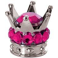 OXFORD kovové čepičky ventilků Crown, (stříbrná/růžová) - Čepičky na ventilky