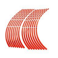 M-Style Reflexní dělené proužky na kola motocyklu - Barva : Červená - Proužky na ráfky