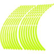 M-Style Reflexní dělené proužky na kola motocyklu - Barva : Fosforově zelená - Proužky na ráfky