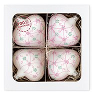 Nastrom - White Chubby Glass Hearts with Pink Painting, 4 pcs - Decoration