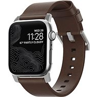 Nomad Leather Strap Modern Brown Silver Hardware Apple Watch 40/38mm - Řemínek