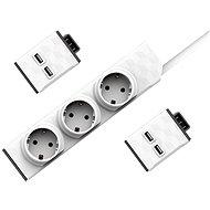Set PowerStrip Modular 3m cable + 2xUSB modul  - Adaptér
