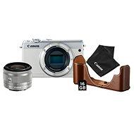 Canon EOS M100 bílý + EF-M 15-45 mm IS STM stříbrný Value Up Kit