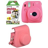 Fujifilm Instax Mini 9 pink red + 20x Film + Case + Frame - Instant Camera