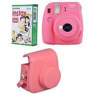 Fujifilm Instax Mini 9  růžový + 10x fotopapír + pouzdro - Instantní fotoaparát