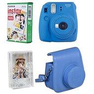 Fujifilm Instax Mini 9 tmavě modrý + 10x fotopapír + pouzdro + rámeček - Instantní fotoaparát