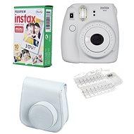 Fujifilm Instax Mini 9 popelavě bílý LED bundle - Instantní fotoaparát