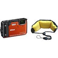 Nikon COOLPIX W300 oranžový + 2v1 plovoucí popruh - Digitální fotoaparát