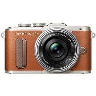 Olympus PEN E-PL8 hnědý + Pancake objektiv ED 14-42EZ stříbrný - Digitální fotoaparát