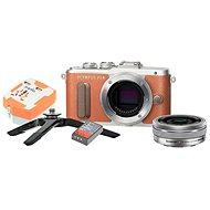 Olympus PEN E-PL8 hnědý + Pancake objektiv ED 14-42EZ stříbrný + Travel kit - Digitální fotoaparát