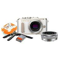 Olympus PEN E-PL8 bílý + Pancake objektiv ED 14-42EZ stříbrný + Travel kit - Digitální fotoaparát