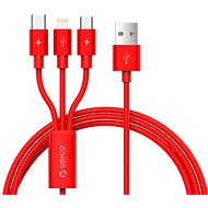 ORICO 3in1 3A Nylon Braided Charge & Sync Cable 1.2m Red - Datový kabel