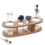 Dochucovací souprava dřevo/nerez/sklo 4+1 ks    - Menážka