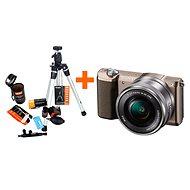 Sony Alpha A5100 hnědý + objektiv 16-50mm + Rollei Starter Kit - Digitální fotoaparát
