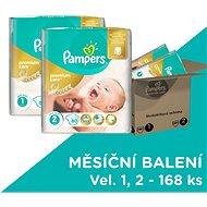PAMPERS Premium Care vel. 1 Newborn (2-5 kg) + vel. 2 Mini (3-6 kg) 168 ks - měsíční zásoba - Dětské pleny