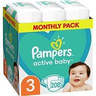 PAMPERS Active Baby vel. 3 Midi (208 ks) – měsíční balení - Dětské pleny