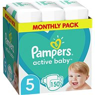 PAMPERS Active Baby-Dry size 5 Junior (11-18 kg) 150 pcs - monthly pack - Baby Nappies