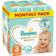 PAMPERS Premium Care Size 3 Midi (204pcs) - monthly pack - Baby Nappies