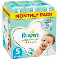 PAMPERS Premium Care size 5 Junior (136pcs) - monthly pack - Baby Nappies