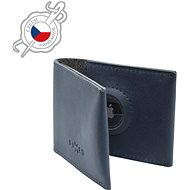 FIXED Wallet for AirTag z pravé hovězí kůže modrá