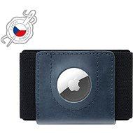 FIXED Tiny Wallet for AirTag z pravé hovězí kůže modrá - Peněženka