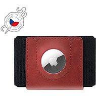 FIXED Tiny Wallet for AirTag z pravé hovězí kůže červená
