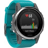Garmin Fenix 5S Silver Optic Turquoise band - Chytré hodinky