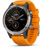 Garmin Fenix ​​5 Plus Sapphire Titanium Optic Solar Flare Orange Band - Smartwatch