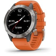 Garmin Fenix 6 Sapphire, Titanium/Orange Band (MAP/Music) - Chytré hodinky