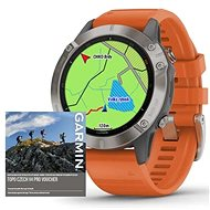 Garmin Fenix 6 Pro Sapphire, Titanium/Orange Band (MAP/Music)