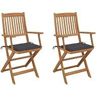 Skládací zahradní židle s poduškami 2 ks masivní akáciové dřevo 3064590