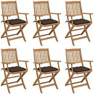 Skládací zahradní židle s poduškami 6 ks masivní akáciové dřevo 3065484
