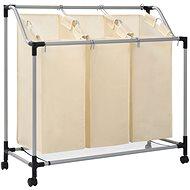 Koš na třídění prádla se 3 vaky krémový ocel 282427 - Koš na prádlo