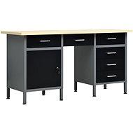 Work table black 160 x 60 x 85 cm steel 145347 - Workbench