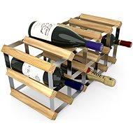 Regál na víno RTA stojan na 15 lahví vína, světlý dub - pozinkovaná ocel / rozložený