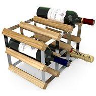Regál na víno RTA stojan na 9 lahví vína, světlý dub - pozinkovaná ocel / rozložený