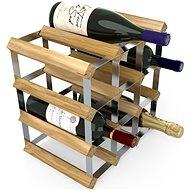 Regál na víno RTA stojan na 12 lahví vína, světlý dub - pozinkovaná ocel / rozložený