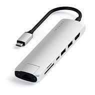 Satechi Aluminium Type-C Slim Multiport (1xHDMI 4K,2x USB-A,1x SD,1x Ethernet) - Silver - Replikátor portů