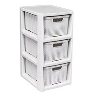 Branq Rattan Chest of Drawers - 3 Baskets, Antique White - Chest of Drawers