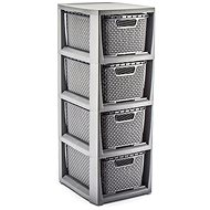 Branq Rattan Chest of Drawers - 4 Baskets of Anthracite - Chest of Drawers