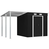 Garden house with shelter anthracite 346x193x181 cm steel - Garden Shed