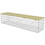Gabionová lavice 180 cm pozinkovaná ocel a borové dřevo - Zahradní lavice