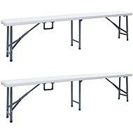 Folding garden bench 2 pcs 180 cm HDPE white - Garden benches