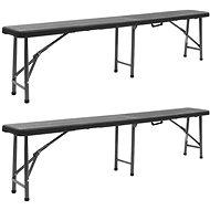 Folding garden bench 2 pcs 180 cm HDPE black - Garden benches