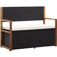 Úložná lavice 110 cm polyratan a masivní akáciové dřevo černá - Zahradní lavice