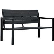Garden Bench 120cm HDPE Black Wooden Look - Garden benches