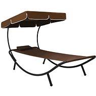 Zahradní postel s baldachýnem a polštářem hnědá - Zahradní lehátko