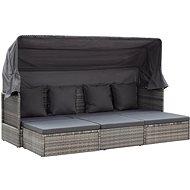 Zahradní postel se střechou odstíny šedé 200x60x124cm polyratan - Zahradní lehátko