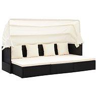 Zahradní postel se střechou černá 200 x 60 x 124 cm polyratan - Zahradní lehátko