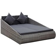 Zahradní postel šedá 200 x 139 cm polyratan